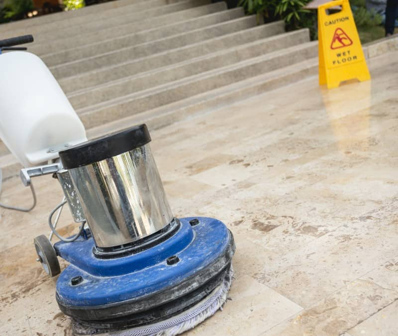 Close up image of a floor buffer belonging to Prestige Property Services, the best commercial cleaning service in OC/LA.